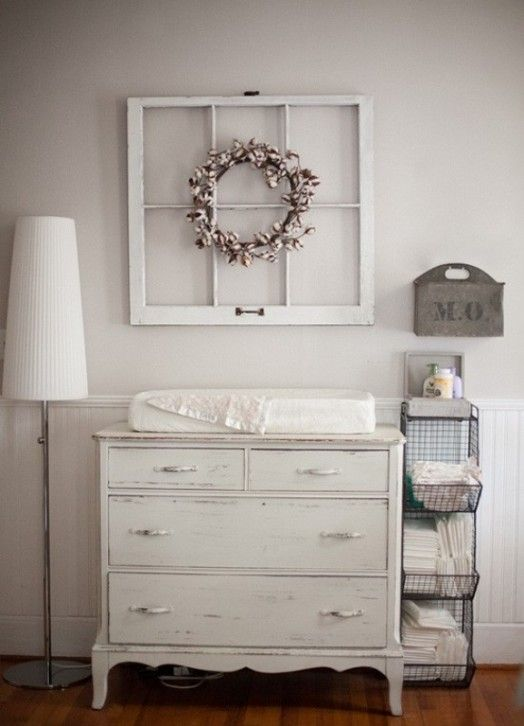 I love this rustic idea and the wood for this changing table/dresser. The frame is a DIY easy projects that croates a strong statement. Follow my board for more ideas. Original photo from HERE.